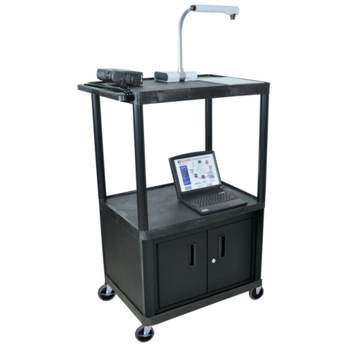 "Luxor Endura 54.25"" High Black 3-Shelf A/V Utility Cart with Cabinet (LP54CE-B) - $278.09 Image 1"