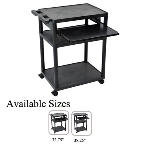 Luxor Endura Black 3-Shelf A/V Utility Cart with Pullout Shelf (LT3445-B) Image 1