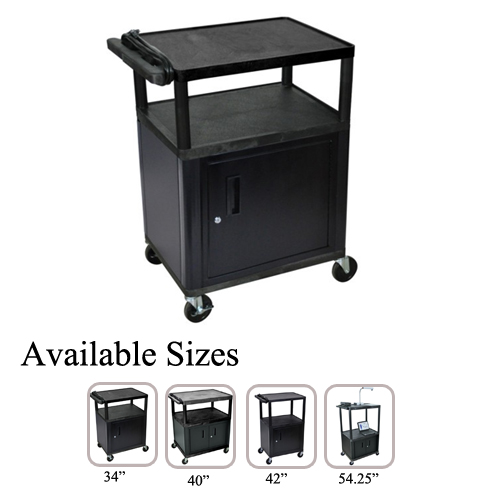 Luxor Endura Black 3-Shelf A/V Utility Cart with Cabinet (LP3440.254254.25CE-B) Image 1