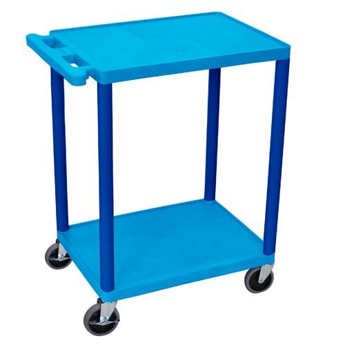 "Luxor 24"" Wide Blue Molded Plastic 2-Shelf Utility Cart (HE32-BU) Image 1"