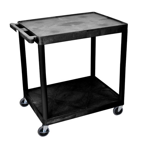 "Luxor 32"" Wide Black Molded Plastic 2-Shelf Utility Cart (HE38-B)"