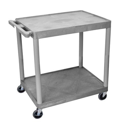 "Luxor 32"" Wide Gray Molded Plastic 2-Shelf Utility Cart (HE38-G)"