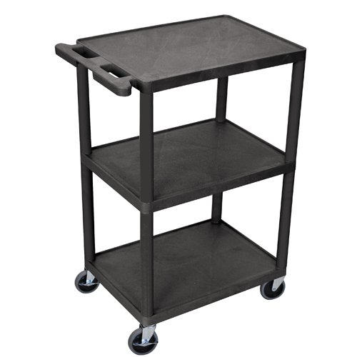 "Luxor 43"" High Black Molded Plastic 3-Shelf Utility Cart (HE42-B) Image 1"
