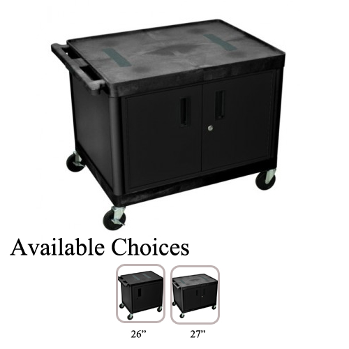 Luxor High Black 2-Shelf Endura A/V Utility Cart with Cabinet (LE2627C-B) Image 1