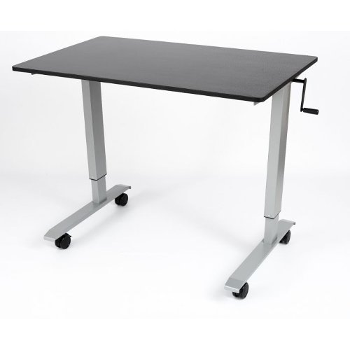 "Luxor 60"" Black Oak High-Speed Crank Adjustable Stand Up Desk (STANDCF60-AG/BO), Work from Home Products Image 1"
