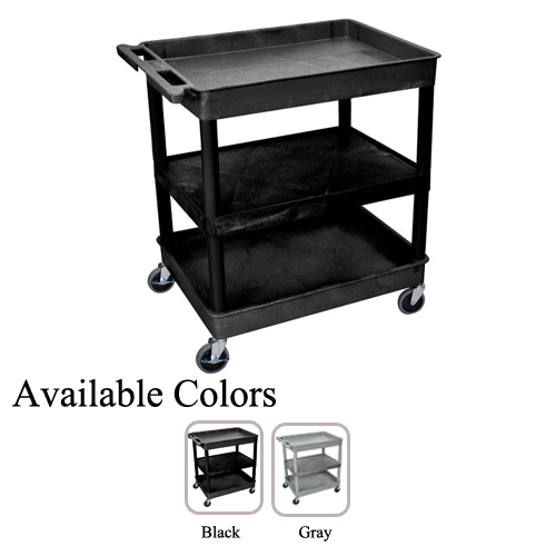 Luxor Large Top/Bottom Tub and Middle Flat Shelf Utility Cart (TC121-BG) - $166.6 Image 1