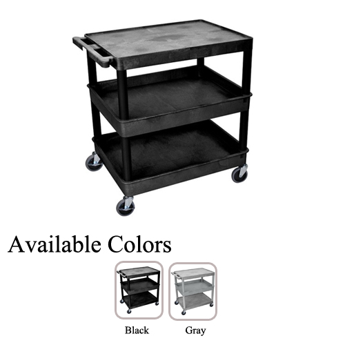 Luxor Large Top Flat and Middle/Bottom Tub Shelf Utility Cart (TC211-BG) - $203.99 Image 1