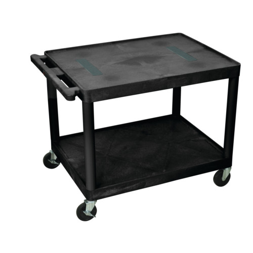 "Luxor 27"" High Black 2-Shelf Endura A/V Utility Cart (LE27-B) Image 1"