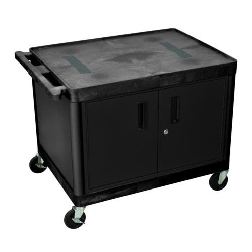 "Luxor 27"" High Black 2-Shelf Endura A/V Utility Cart with Cabinet (LE27C-B) Image 1"