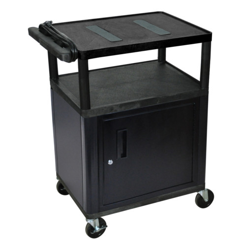 "Luxor 35.25"" High Black 3-Shelf Endura A/V Utility Cart with Cabinet (LE34C-B) Image 1"