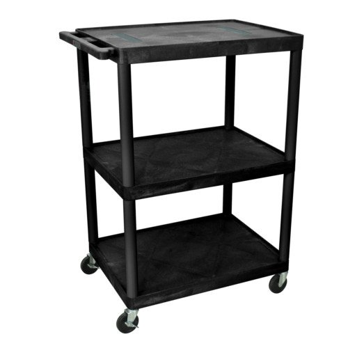 "Luxor 48.25"" High Black 3-Shelf Endura A/V Utility Cart (LE48-B) Image 1"