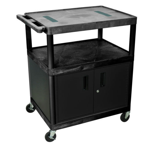 "Luxor 40.25"" High Black 3-Shelf Endura A/V Utility Cart with Cabinet (LE40C-B) Image 1"