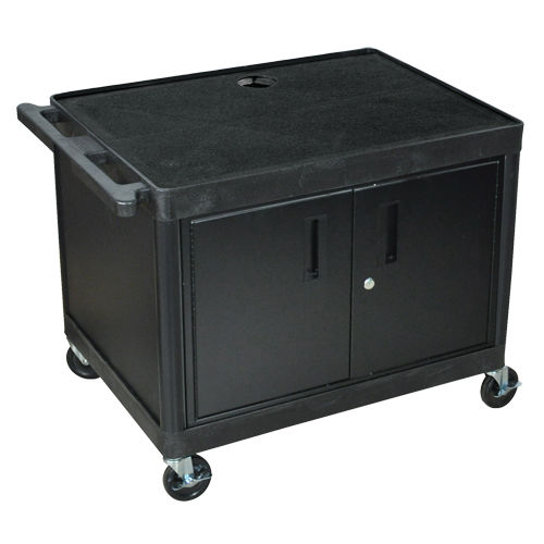 "Luxor Endura 27"" High Black 2-Shelf A/V Utility Cart with Cabinet (LP27CE-B) Image 1"