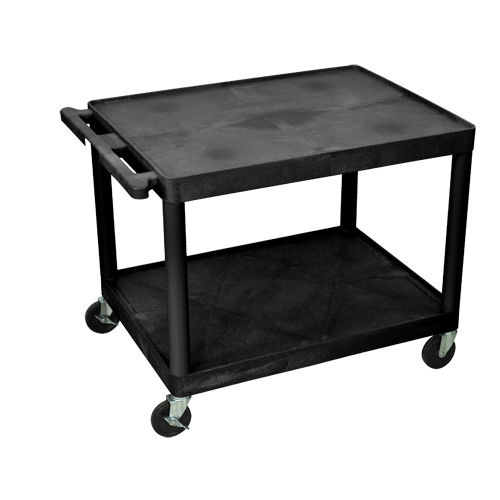 "Luxor Endura 27"" High Black 2-Shelf A/V Utility Cart (LP27E-B) Image 1"