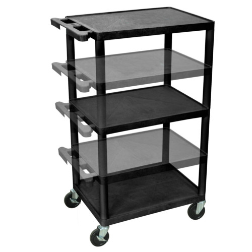 "Luxor Endura 24"" x 18"" Black Multi-Height A/V Utility Cart (LPDUOE-B) Image 1"