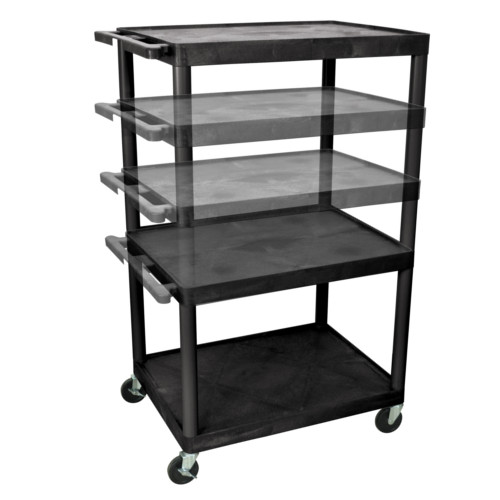 "Luxor Endura 32"" x 24"" Black Multi-Height A/V Utility Cart (No Outlet) (LPLDUO-B) Image 1"