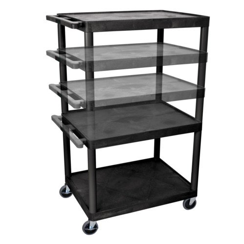 "Luxor Endura 32"" x 24"" Black Multi-Height A/V Utility Cart (LPLDUOE-B) - $193.82 Image 1"