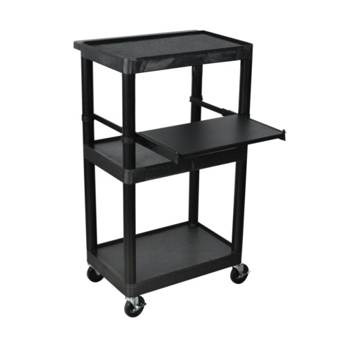 "Luxor Endura 44.25"" High Black 3-Shelf A/V Utility Cart with Pullout Shelf (LT45-B) - $167.44 Image 1"