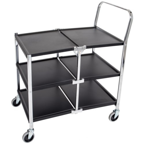 Luxor Three-Shelf Collapsible Metal Cart (MSCC-3) Image 1