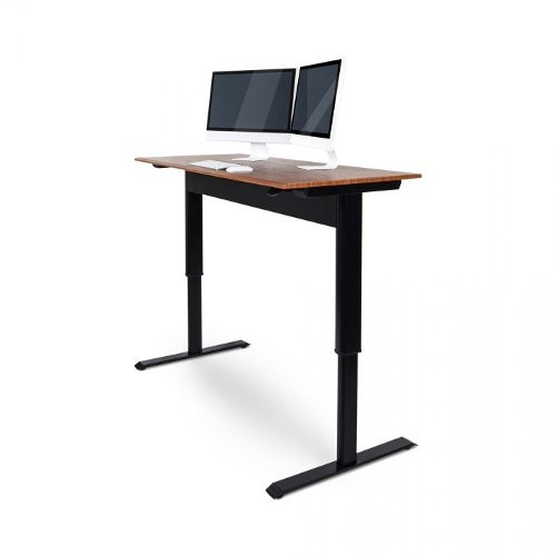 "Luxor 56"" Teak Pneumatic Adjustable-Height Standing Desk (SPN56F-BK/TK) Image 1"