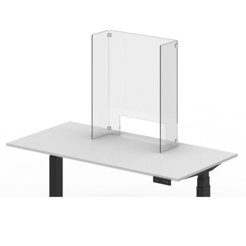 "Luxor RECLAIM Clear Acrylic 24"" x 30"" Freestanding Counter Sneeze Guard (DIVCU-2430C) Image 1"