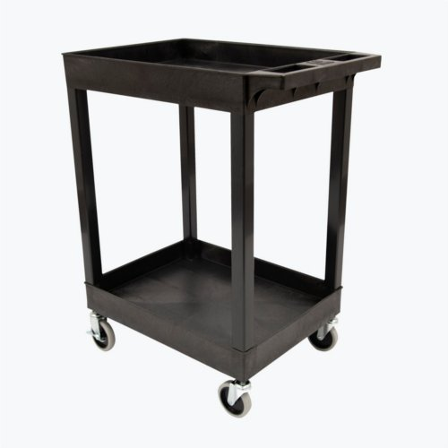 "Luxor 2-Shelf Black 24"" x 18"" Tub Plastic Utility Cart (SEC11-B) Image 1"