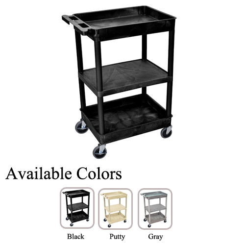 Luxor STC121 Top/Bottom Tub and Middle Flat Shelf Utility Cart (STC121-TBTMFSUC) Image 1