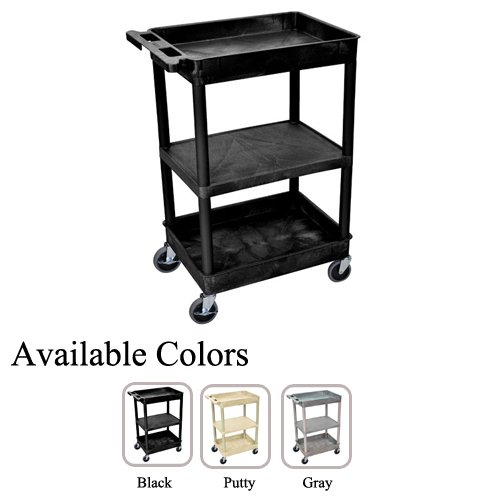 Luxor STC121 Top/Bottom Tub and Middle Flat Shelf Utility Cart (STC121-TBTMFSUC), Luxor brand Image 1