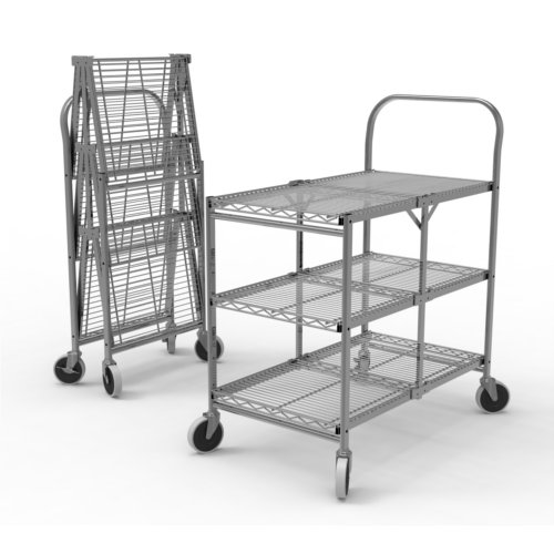 Luxor Three-Shelf Collapsible Wire Utility Cart (WSCC-3) Image 1