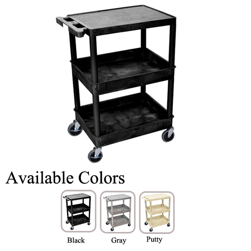 Luxor Top Flat and Middle/Bottom Tub Shelf Utility Cart (STC211-TFMBTSUC) Image 1