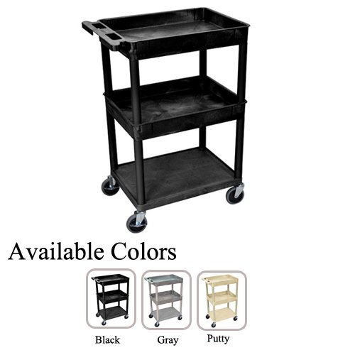 Luxor Top/Middle Tub and Bottom Flat Shelf Utility Cart (STC112-TMTBFSUC), Luxor brand Image 1