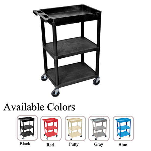 Luxor Top Tub and Middle/Bottom Flat Shelf Utility Cart (STC122-TTMBFSUC) Image 1