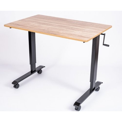 "Luxor 60"" White Oak High-Speed Crank Adjustable Stand Up Desk (STANDCF60-BK/WO) Image 1"