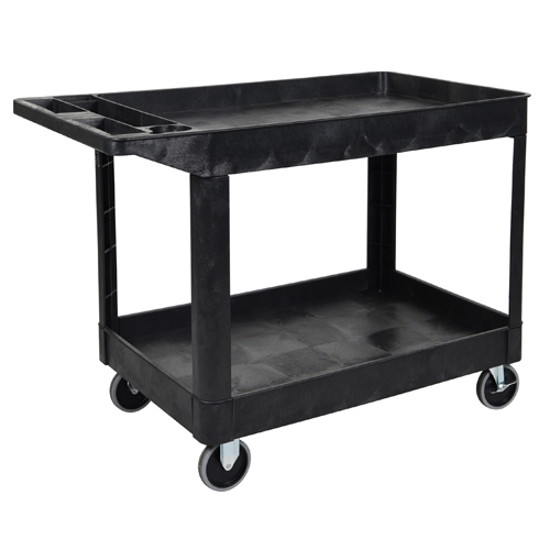 Luxor Black Two-Shelf Heavy-Duty Utility Cart (XLC11-B) Image 1