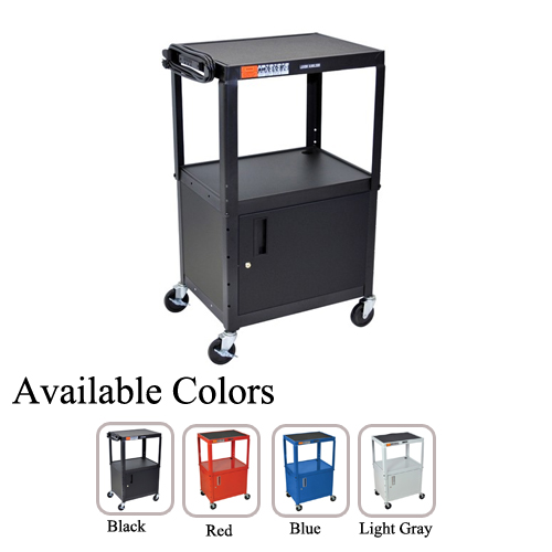 Luxor Adjustable Height Steel A/V Cart with with Pullout Keyboard Tray and Cabinet (LAVJ42KBC) Image 1