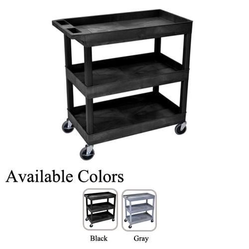 "Luxor 32"" x 18"" Black 3-Tub Shelf Utility Carts (EC111), Luxor brand Image 1"