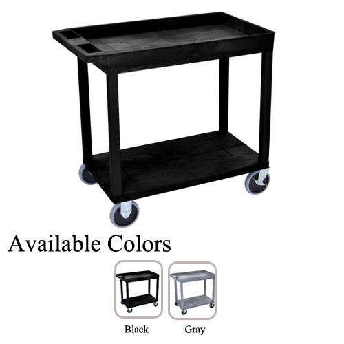 "Luxor 32"" x 18"" High Capacity Black 1-Tub/1-Flat Shelf Utility Carts (EC12HD), Luxor brand Image 1"
