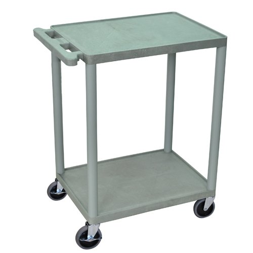 "Luxor 24"" Wide Gray Molded Plastic 2-Shelf Utility Cart (HE32-G)"