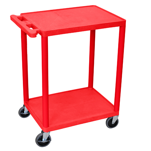 "Luxor 24"" Wide Red Molded Plastic 2-Shelf Utility Cart (HE32-RD) Image 1"