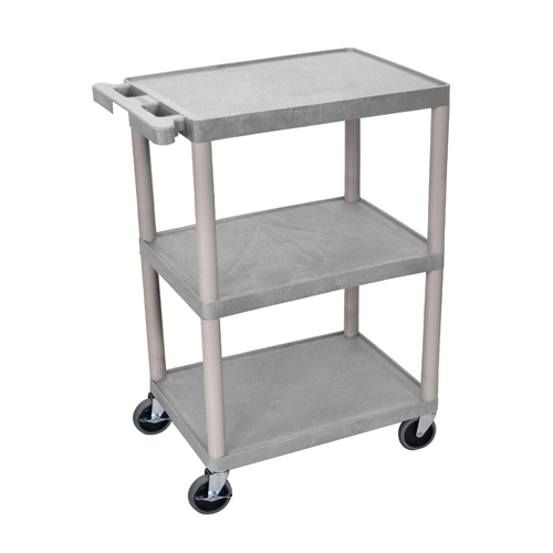 "Luxor 34"" High Gray Molded Plastic 3-Shelf Utility Cart (HE34-G)"