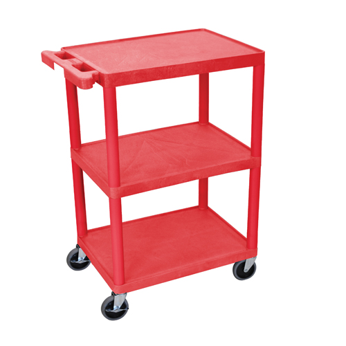 "Luxor 34"" High Red Molded Plastic 3-Shelf Utility Cart (HE34-RD)"
