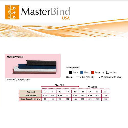 MasterBind Black 20mm Hard Cover Binding Channels - 10/BX (1161-2G100) Image 1