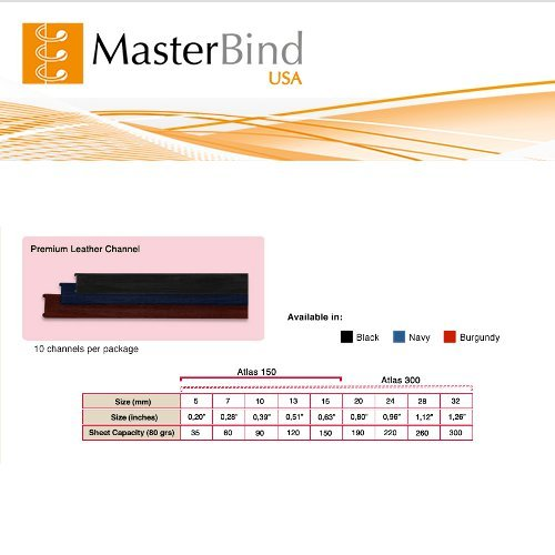 MasterBind Black 24mm Premium Hard Cover Binding Channels - 10/BX (1161-5H100), MasterBind brand Image 1