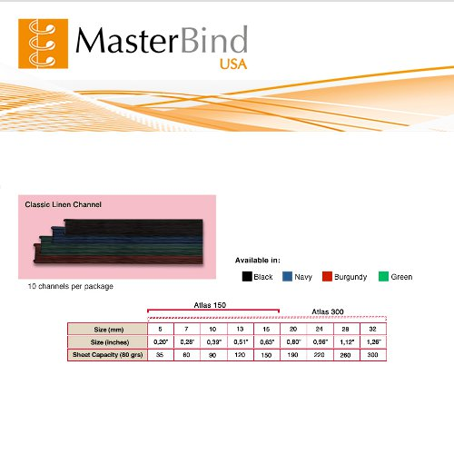 MasterBind Black 28mm Classic Linen Finish Binding Channels - 10/BX (1161-1I100), MasterBind brand Image 1