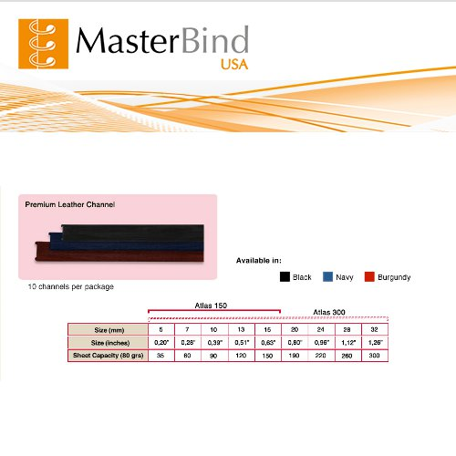 MasterBind Black 28mm Premium Hard Cover Binding Channels - 10/BX (1161-5I100), MasterBind brand Image 1