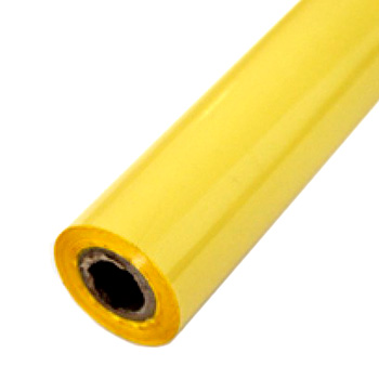 "3"" x 200' Matte Lemonade Yellow Hot Stamp Foil Roll (1/2"" Core) (MYBF1443X200F) - $23.69 Image 1"