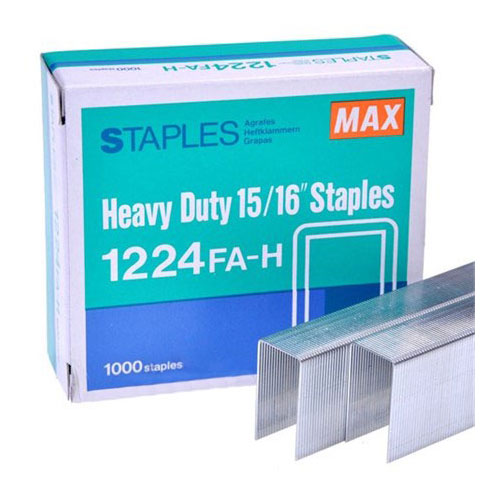 """MAX Corp 15/16"""" Staples For The HD-12N Series and HD-12F 1000 Pack (1224FA-H), Binding Machines Image 1"""