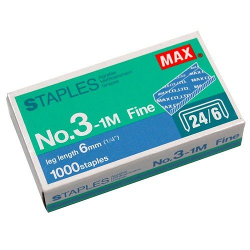 "MAX Corp 1/4"" Heavy Duty Staples for HD-3DF - 1000/Box (3-1M) - $3.99 Image 1"