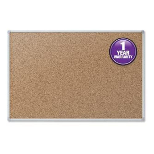 "Mead 24"" x 18"" Natural Cork Bulletin Board with Aluminum Frame (MEA85360) Image 1"