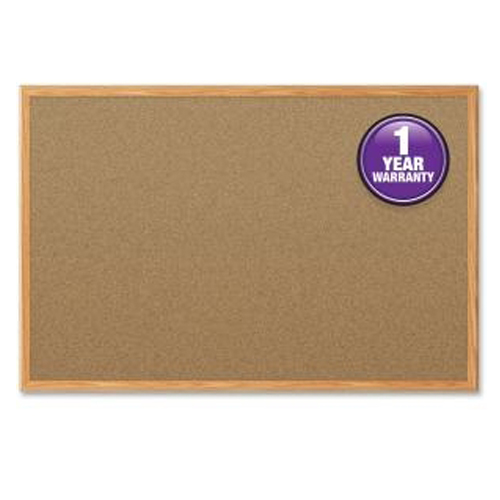 "Mead 24"" x 18"" Natural Cork Bulletin Board with Oak Frame (MEA85365) Image 1"